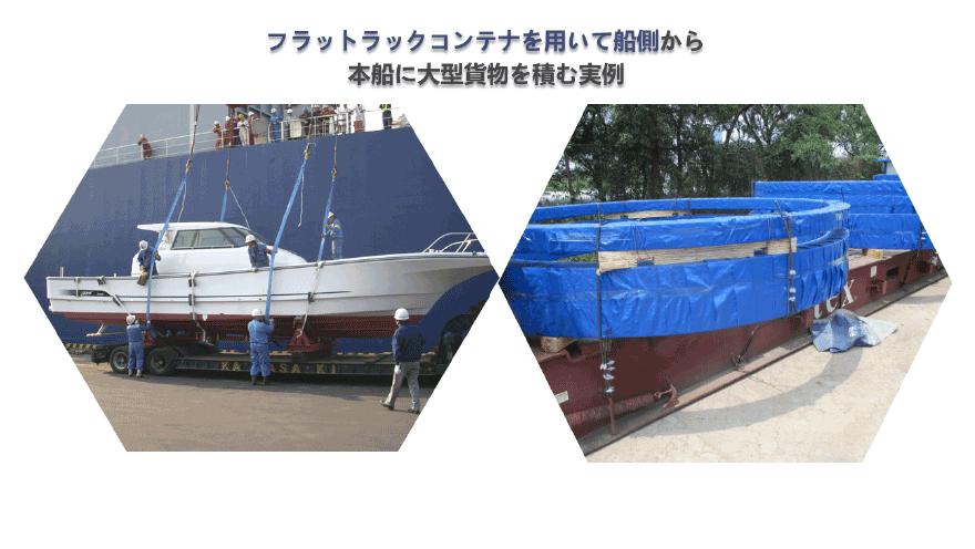 フラットラックコンテナを用いて船側から本船に大型貨物を積む実例
