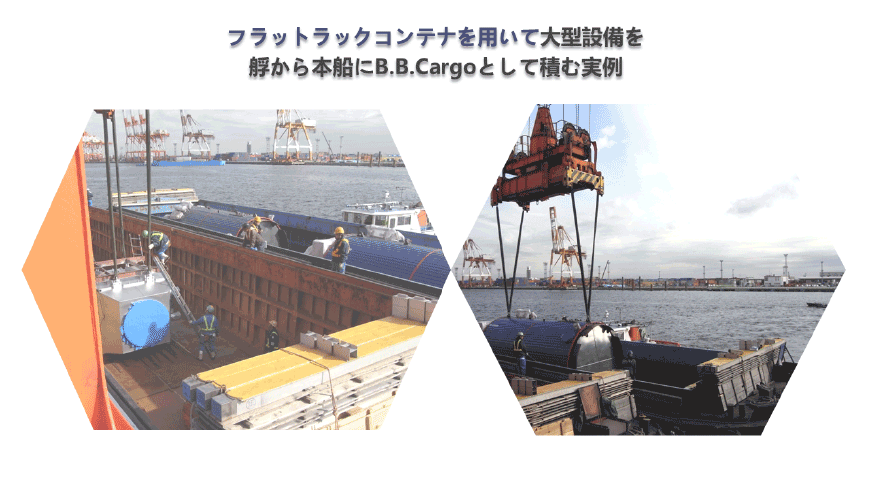 フラットラックコンテナを用いて大型設備を艀から本船にB.B.Cargoとして積む実例